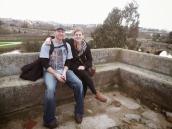 Matt and I in Merida, with the old Roman Bridge in the Background.