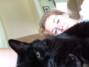 Missy and I, chillin'. (She's going to be 18 this year.)